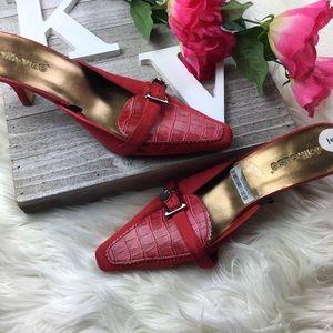 Charlotte Russe Red slip on heels square toe